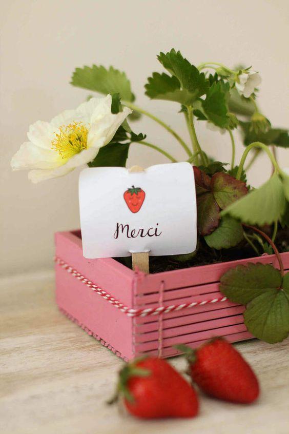 anniversaire fraise- cadeaux invités : une barquette de fraises