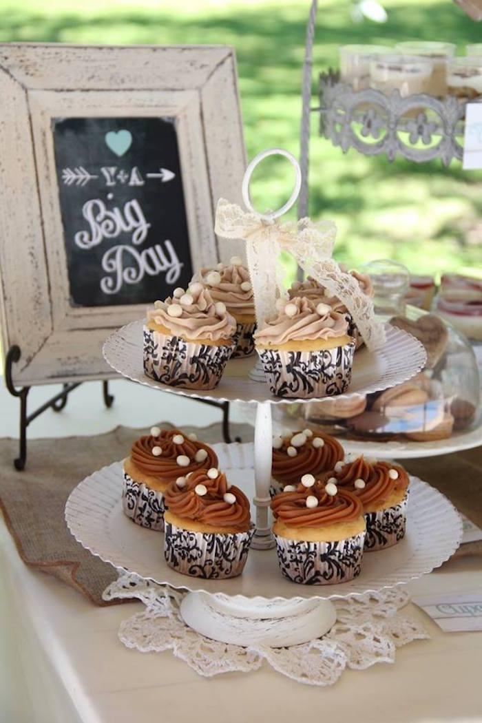 Mariage vintage - Cupcakes chocolat et praliné