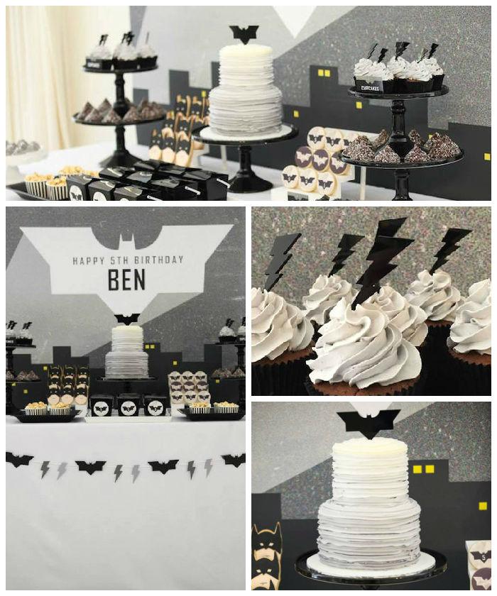 Sweet table Batman en noir et blanc