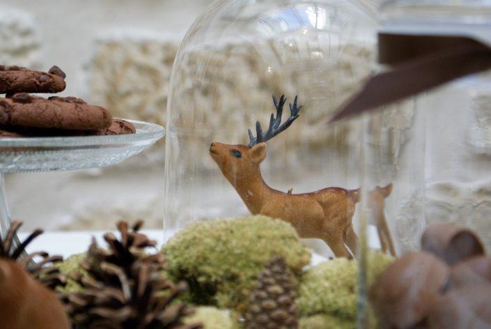 Mini sweet table automne - biche dans une cloche en verre