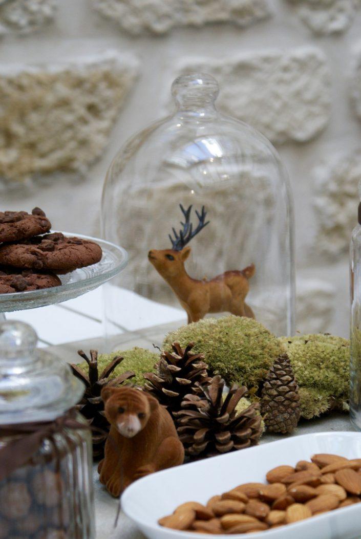 Mini sweet table automne - petite biche dans une cloche en verre
