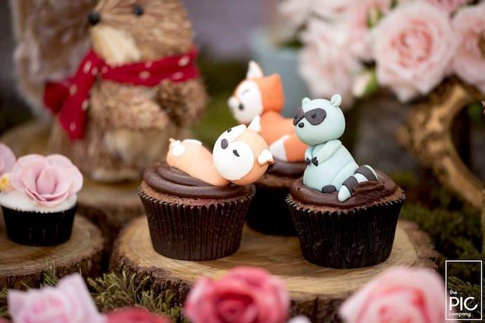 Dans les bois - Petits cupcakes animaux des bois