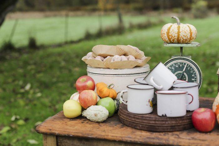 Goûter à la pomme - Tasses vintage et beignets au sucre glace