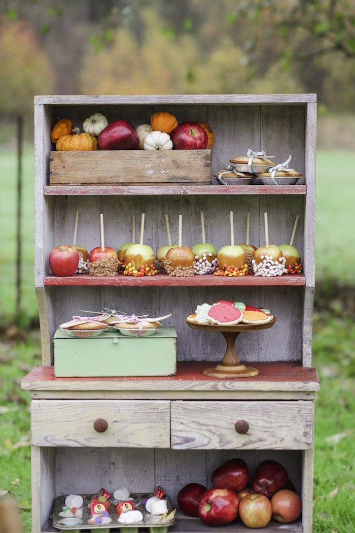 Goûter à la pomme - Meuble de présentation en bois