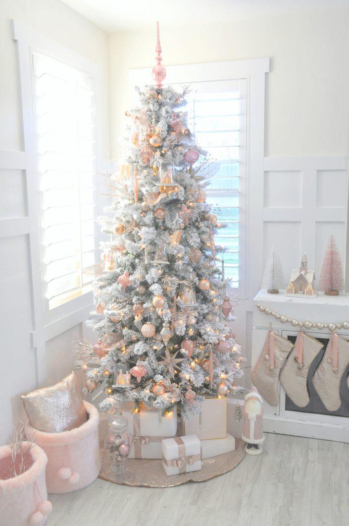 Noël rose pastel - Sapin