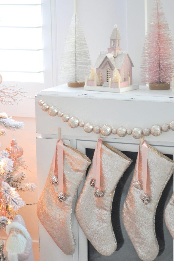 Noël rose pastel - Chaussette de Noël à paillettes