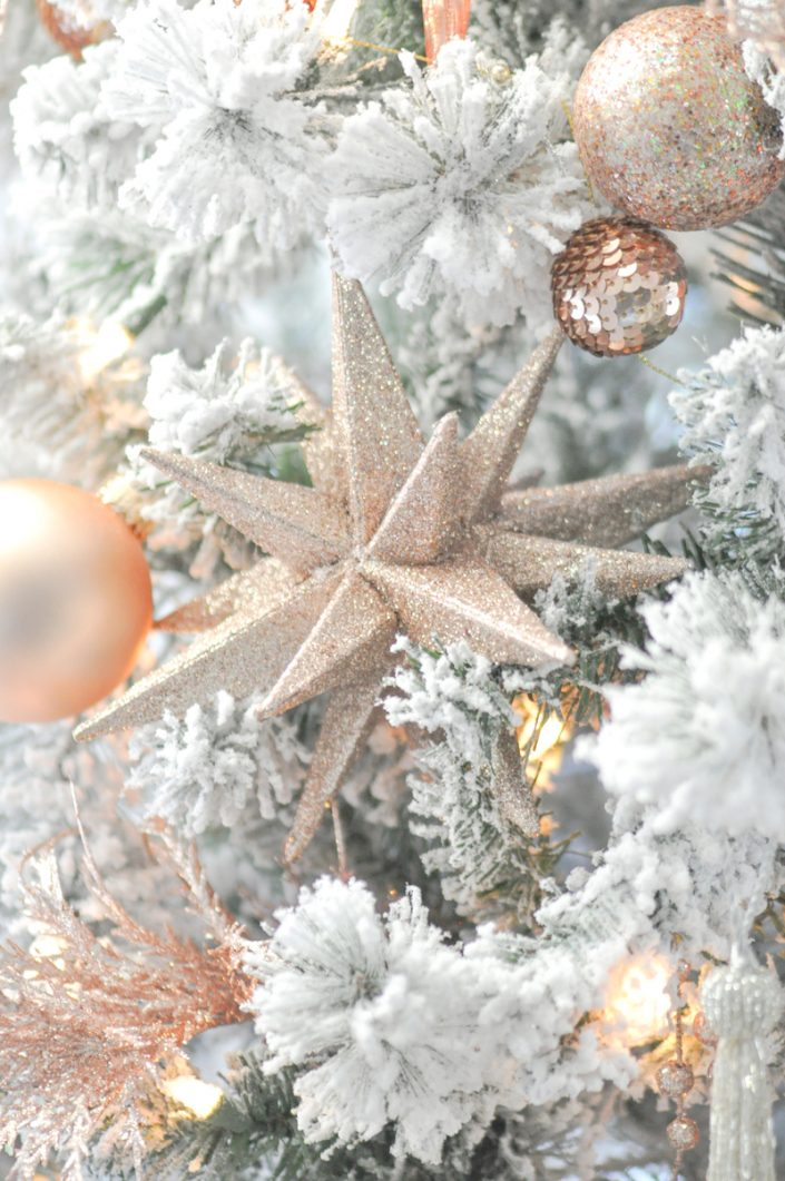 Noël rose pastel - Etoile dorée