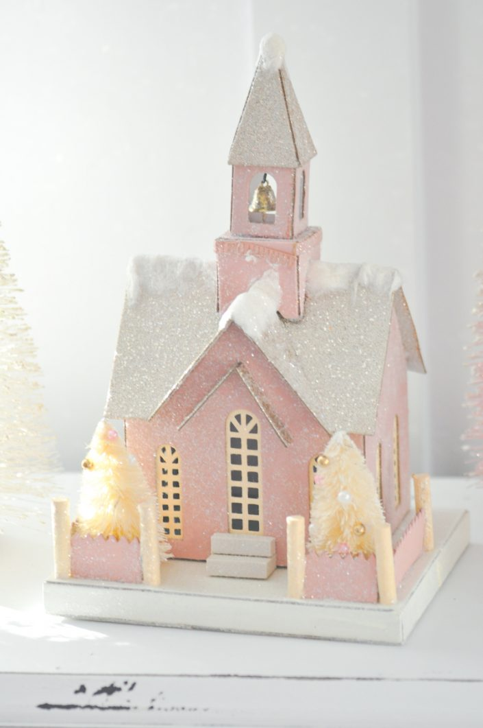 Noël rose pastel - Petite maison