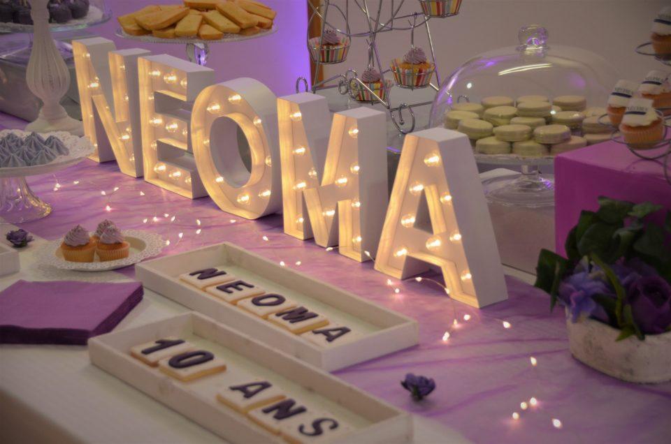 Sweet Table en violet et blanc pour NEOMA