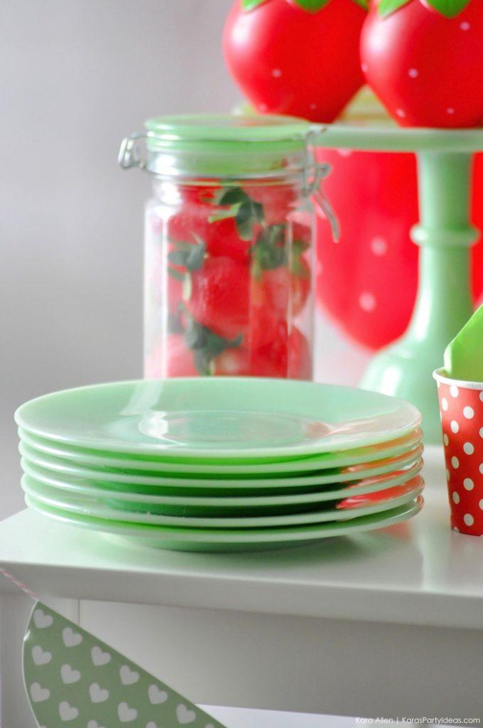 Saint valentin à la fraise - Studio Candy - Assiettes vert d'eau