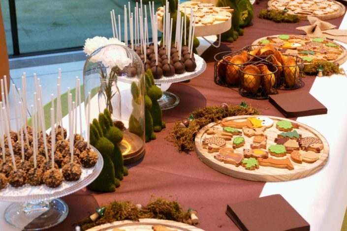 Petit déjeuner nature thème forêt pour Center Parcs par Studio Candy - sablés décorés, cakepops, madeleines, décoration lapins,biche, ours, mousse et champignons.
