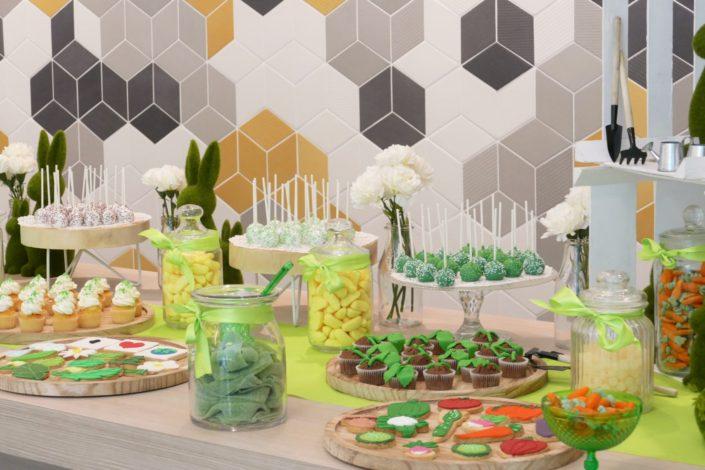 Sweet table - Candy bar - bar a bonbons et patisseries par Studio Candy pour l'Oréal sur le thème développement durable - cupcakes plantes, cake pops verts, sablés décorés personnalisés