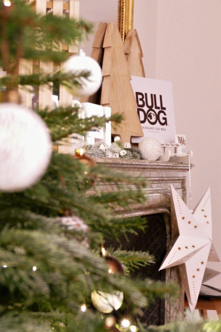 Scénographie, décoration de Noël pour la marque Bulldog par Studio Candy - sapin, table branche de sapin et pomme de pin, cheminée décorée