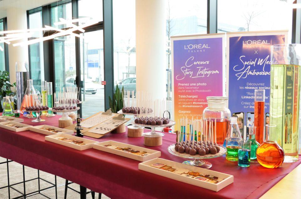 Sweet table thème laboratoire pour L'Oréal