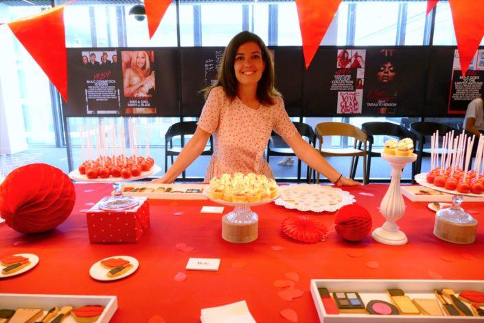 cupcakes et cake pops rouges à paillettes par Studio Candy pour Mac Cosmetics