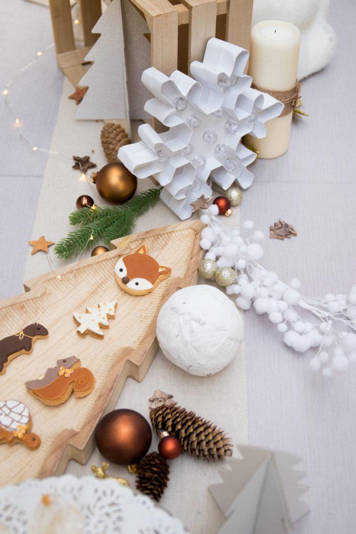 journee presse sophie la girafe - sables décorés de Noël - scenographie studio candy