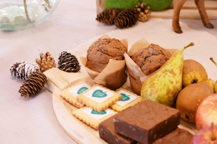 Petit déjeuner nature pour le lancement de la gamme de jouets Clementoni - brownie au noix, fruits frais, sablés décorés, muffins myrtille - décoration eucalyptus, lapins en mousse, pommes de pin, lin froissé beige